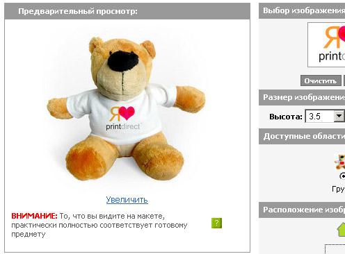 Плюшевый мишка в подарок от Printdirect.ru